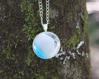 Fused Glass Bezel Pendant - Blue, White, and Clear