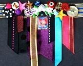 SWALLOW Ribbon Button Necklace Choker, Bright Jumble OOAK