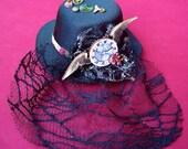 TEMPUS Mini Hat, Steampunk Fascinator, Veil OOAK