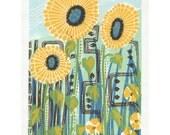 SALE Sunflower linocut print.