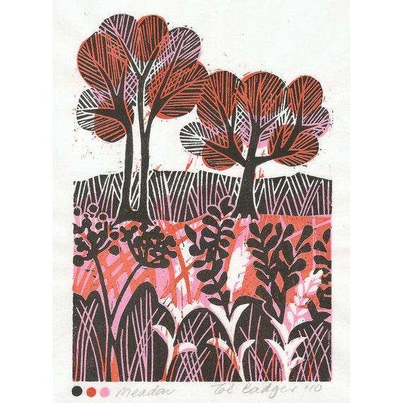 SALE Meadow linocut print.