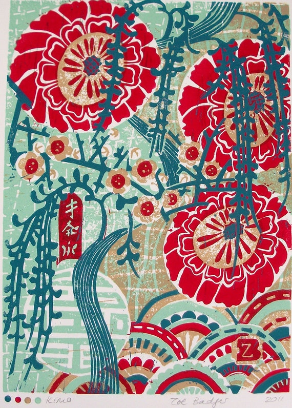 SALE Kimo linocut print.
