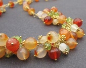Cluster Necklace Wire Wrapped Carnelian, Moonstone and Peridot Gemstones with Ornate 24k Gold Vermeil Toggle Clasp