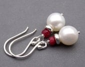 Earrings Ruby Gemstone, Sterling Silver and Freshwater Pearls with Sterling Silver Ear Hooks