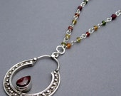 RESERVED Sterling Silver Garnet Vintage Pendant Necklace with Hessonite Garnet Handmade Wire Wrapped Sterling SilverChain