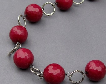 Bead Necklace Oxidized Sterling Silver Wire Wrapped Faceted Cranberry Red Quartz with Bali Sterling Silver Clasp
