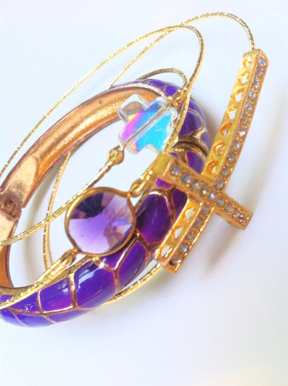 Vintage Set Stone Bangle in Amethyst
