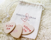 PERSONALIZED. Wooden Conversation Hearts. Whimsical Wedding Party Favors, Newlywed Gift or Valentines Day Gift
