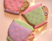 Tea Party cookie favors - one dozen
