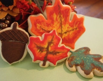 Fall Leaves Thanksgiving Cookie Favors - One dozen