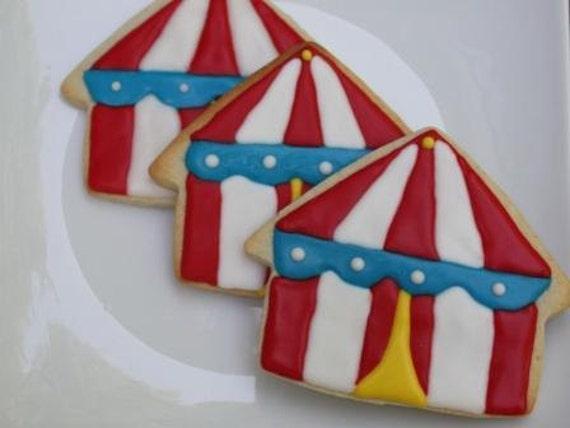 Carnival Circus Tent Cookies - One dozen