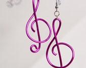 Hot Pink Treble Clef Earrings