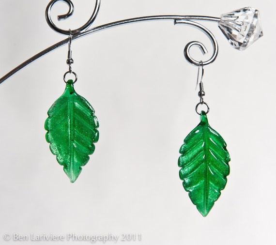 Glass Leaf Earrings - Zelda Deku Leaf