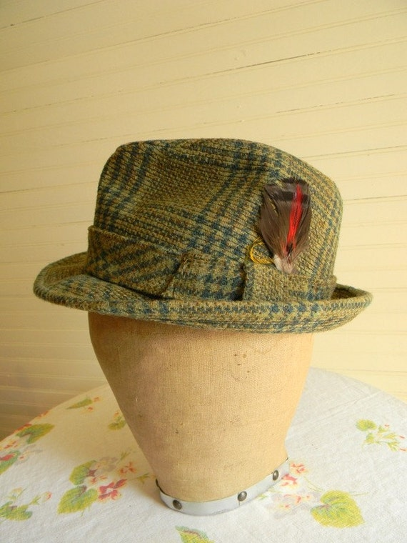 RESERVED fo LEAH Vintage 1960s Plaid Fedora, by Tiffany