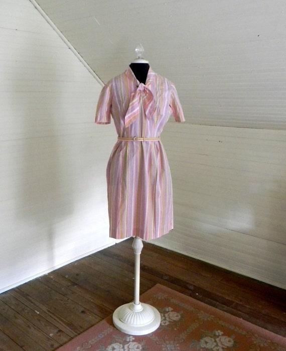 Vintage Dress, Pink Cotton Easter Dress, 60s Shirtwaist Dress, Pink Stripe Easter Dress, Handmade Vintage Dress, Size Small Vintage Dress