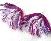 Big Earrings, Large Earrings, Fiber Earrings, Purple Earrings, Dangley Earrings