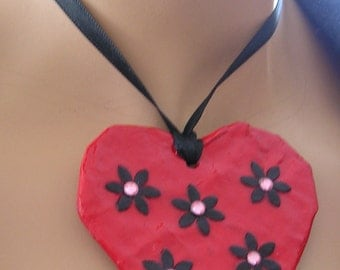 Red Necklace, Red Pendant, Paper Mache Heart