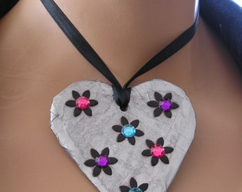 Paper Mache necklace, Heart Necklace, Rhinestone Heart