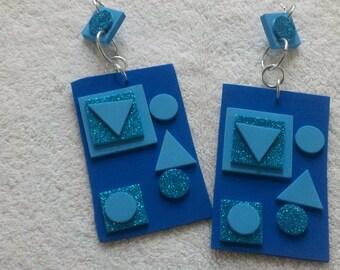 Big Earrings, Geometric Earrings, Large Earrings, Foam Earrings
