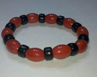 Black and Orange, Pony Bead, Bracelet