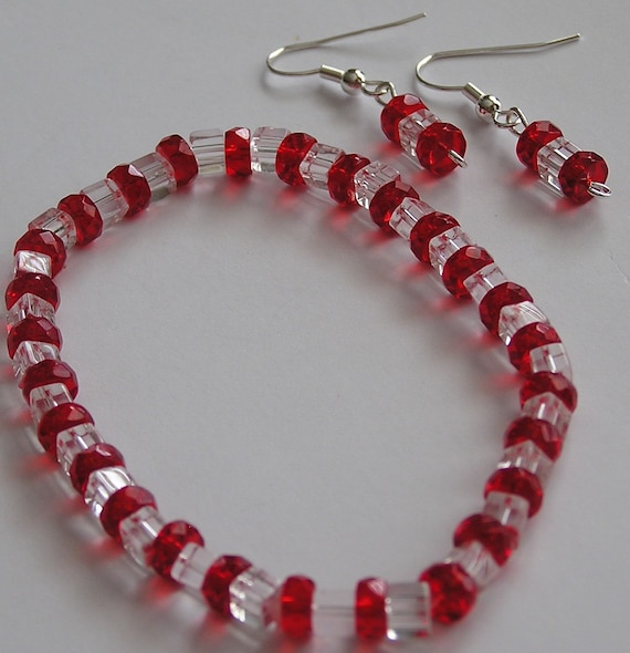 Red and White Peppermint Bracelet and Earring Set