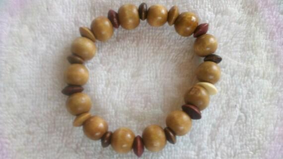 Men Brown Bracelet, Wood Bracelet, Unisex Bracelet,  Stretchy Tan Bracelet,  Male brown bracelet