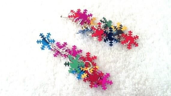 Sequin Dangley Earrings, Long colorful Earrings, Long Snowflake Earrings, Long Sequin Earrings