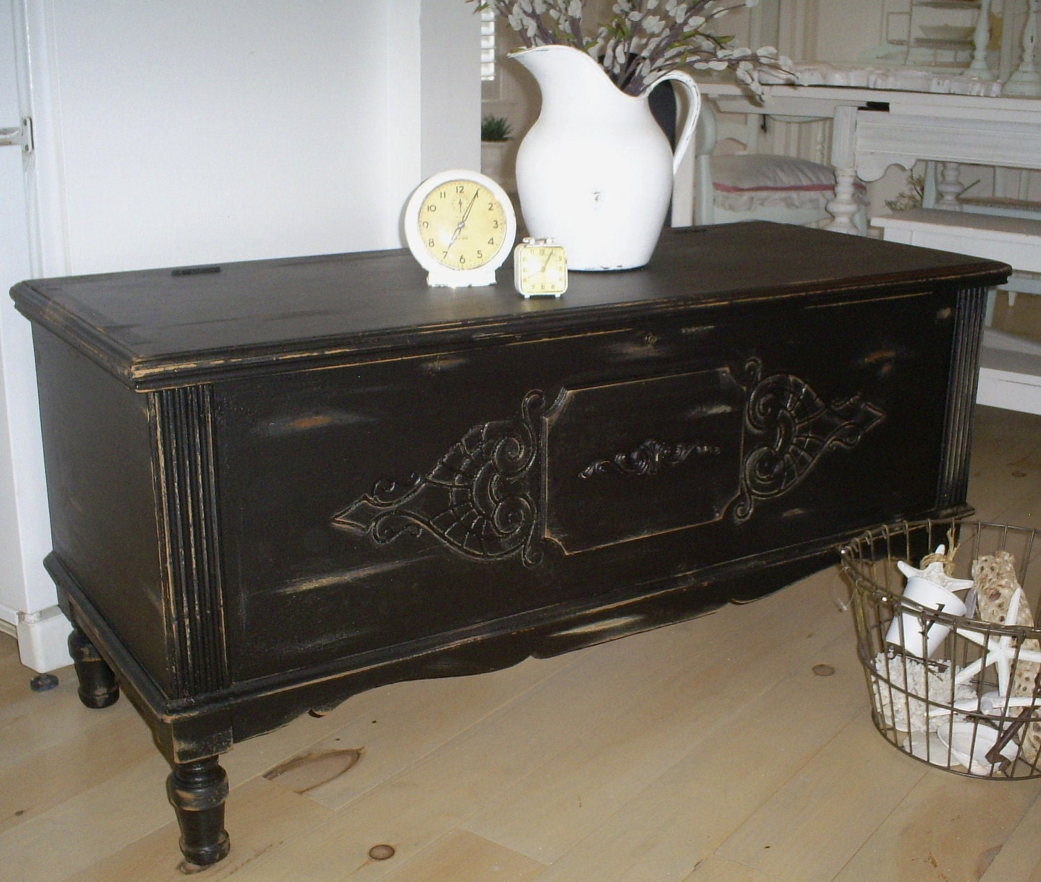Vintage Black Chest Trunk Coffee Table By Backporchco