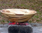 Amazing Ambrosia Maple Salad Bowl XX Large Hand Turned Centerpiece, Bread Bowl, Fruit Bowl, Brown, Beige