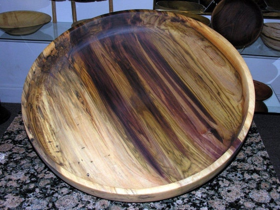 Colorful Poplar Centerpiece hand turned wood bowl fruit bowl, serving, display, purple, green,