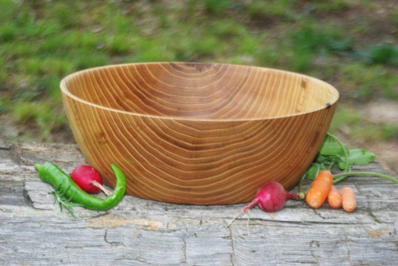 Extraordinary Black Locust wood salad bowl hand turned, bread bowl, fruit bowl, honey colored, warm