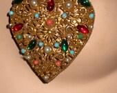 Fantastic Signed Coro Rare Huge Filigree Heart Cabachon Pin/Pendant Necklace