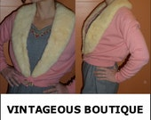 Vintage 1950s BOMBSHELL Glam PINK and Snow White Mink Trim Cashmere Sweater Xs-m