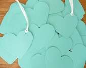 Set of 100 aqua blue die cut heart tags with your choice ribbon color