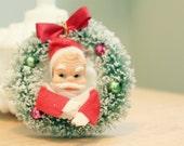 RESERVED Mansion1960-- Santa & Wreath Ornament