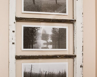 Mists of Mille-Isles, Landscape Photography framed in Old Recuperated Window, Wood, Up-cycled, Recycled, Nature, Black and White Photos