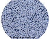 10/0 Powder Blue Seed Beads - sold in one ounce packs - 2200 beads to an ounce - approx 2.3mm diameter - Czech glass beads