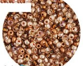 6/0 Copper Mega Mix Seed Beads - sold in one ounce packs - 480 beads to an ounce - approx 4.0mm diameter - Czech glass beads