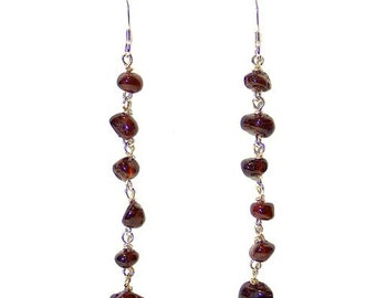 Garnet Nuggets Earrings - 63mm length - red and silver - garnet nuggets on chains - sterling silver earwires