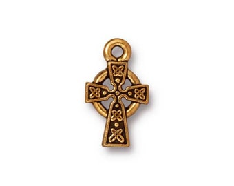 TierraCast 15mm Celtic Cross Charm - pewter cross with antiqued gold finish - small jewelry cross