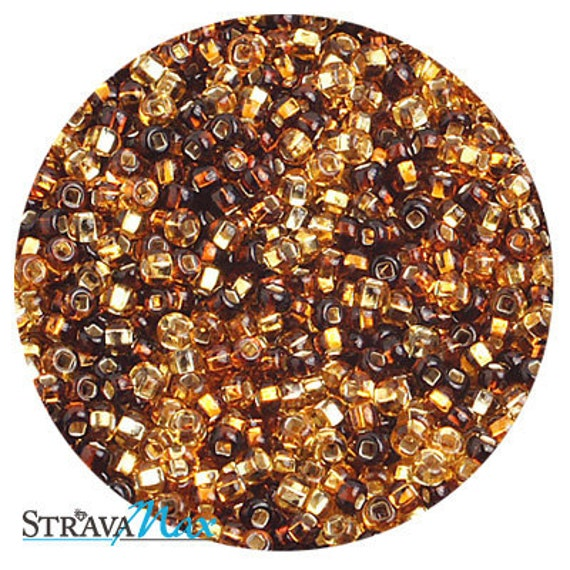 10/0 Topaz Silver Lined Mix - sold in one ounce packs - 2200 beads to an ounce - approx 2.3mm diameter - Czech glass beads