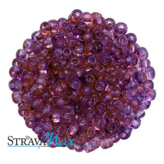 6/0 Pink Lilac Two Tone Seed Beads - sold in one ounce packs - 480 beads to an ounce - approx 4.0mm diameter - Czech glass beads
