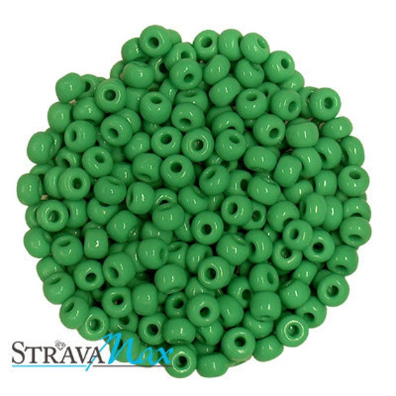 6/0 Medium Green Seed Beads - opaque green rocaille seed beads - sold in one ounce packs - volume discount available