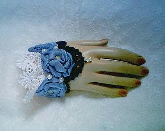 Bridal Cuff  - Fabric Roses - Lt Blue, Dk Blue, White