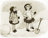 8x10 Print  2 Girls in the Snow- From 1912  Book Illustration