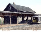 8x10 Print  - Sea Cliff, NY  Railroad Station 1905 with Trolley, from Vintage Postcard.