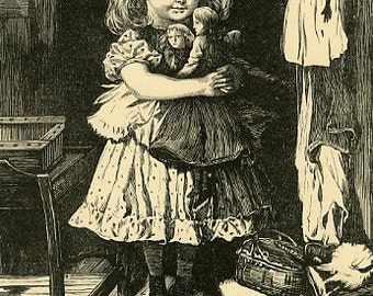 8x10 Print  -Girl with Dolls- From Pen and Ink Illustration 1887