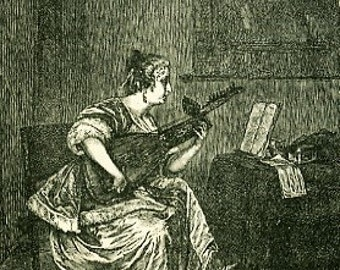 8x10 Print  -Lute Player - From Pen and Ink Illustration 1877