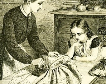 8x10 Print  -Learnig To Iron- From Pen and Ink Illustration 1887