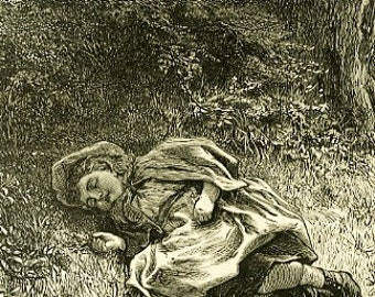 8x10 Print  -Girl Sleeping on the Ground- From Pen and Ink Illustration 1887